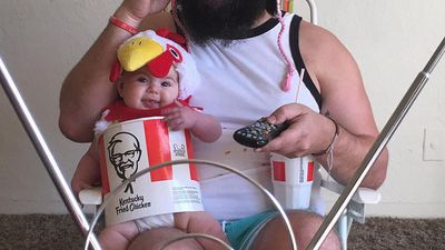 Dad dresses his baby daughter as KFC meal, garden gnome and graffiti artist in hilarious pics