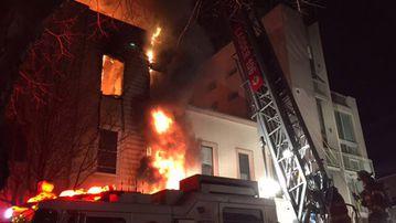 A blaze has torn through a three-storey dwelling in Brooklyn. (Twitter/@FDNY)