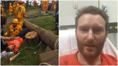 Father lucky to be alive after legs crushed by power pole
