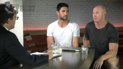 Barry Hall and Brent Staker come face-to-face for first time in a decade on AFL Footy Show