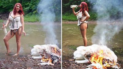 Woman celebrates her divorce by setting her wedding dress on fire