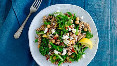 Chilli, chickpea and vegetable wholemeal pasta salad
