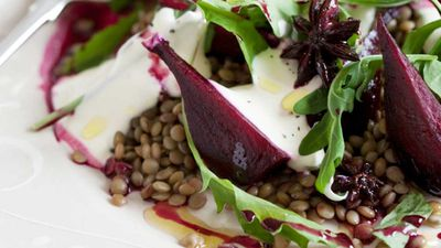 Lentil salad with baby beets and feta