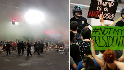 Tear gas used to disperse protesters after Trump speech