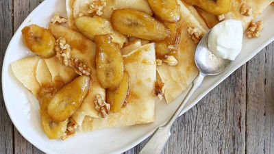 Caramelised banana crepes with yogurt and walnuts
