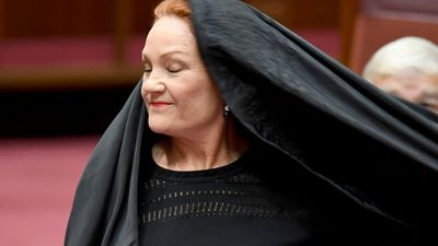 'Beneath contempt': Hanson's burqa stunt draws outrage