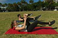 Outdoor Pilates workout