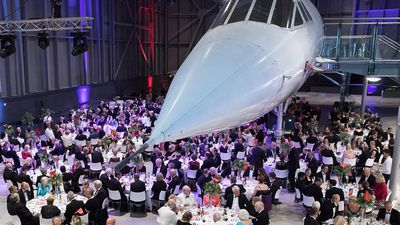Dine under a suspended Concorde plane at this aerospace museum