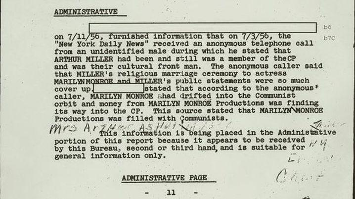 An FBI file about Marilyn Monroe. (AAP)