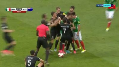 All-in brawl mars fiery Confederations Cup match as Mexico overcomes New Zealand