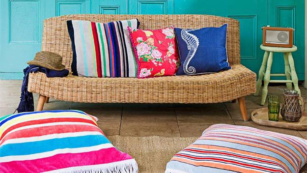 Make snazzy beach towel cushion covers