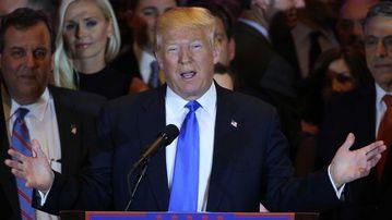 Donald Trump gives a victory speech in Trump Tower, Manhattan. (AAP)