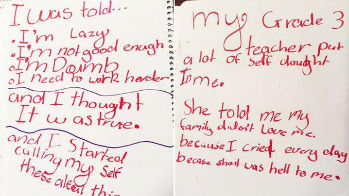 "Katie's ""red letter"" describing her experiences. (www.myredletterday.com.au)"