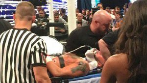 WWE wrestler leaves bout on a stretcher
