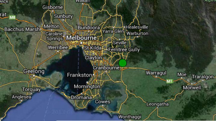 A green dot over Pakenham indicates where the earthquake struck. (Geoscience Australia/Google Maps)