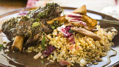 Mike Eggert's saltbush lamb shanks with wattleseed, grains and bitter leaves