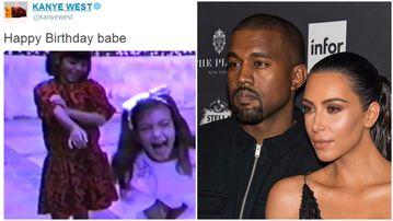 Kanye West has celebrated with Kim Kardashian's birthday with a video montage. (Twitter/Getty)