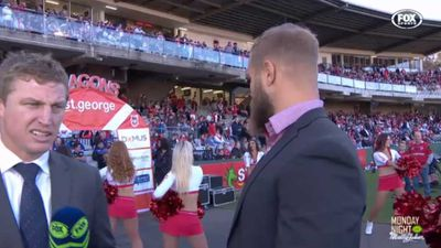 St George Illawarra forward Jack de Belin caught looking at NRL cheerleaders during live cross