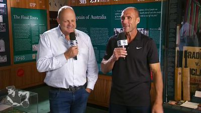 Champion AFL full forward Tony Lockett meets his kicking match in Bowral