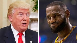 Donald Trump and LeBron James. (AAP)