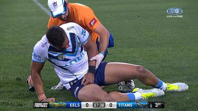 Gold Coast Titans forward John Olive suffers a dislocated elbow in loss to Parramatta Eels