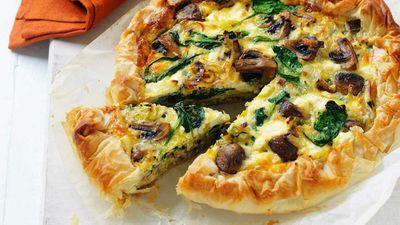 Mushroom and leek filo pie