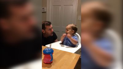 Music-loving baby digs dad beatboxing