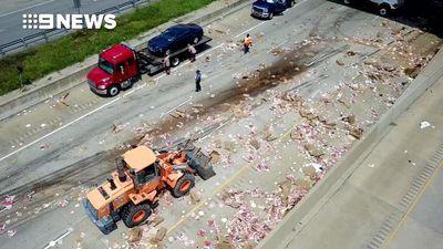 Pizza scattered all over US highway after crash