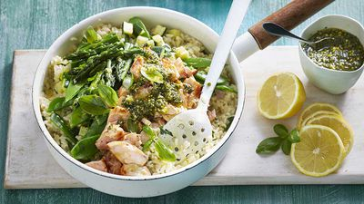 Vegetable and salmon risotto