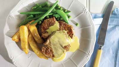 Panfried scotch fillet steak with a quick béarnaise sauce