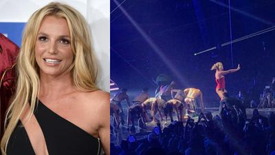 'He's got a gun?': Britney ushered away after man storms stage