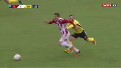 Pau Morer takes a ride on the back of a rival player in Norway's Eliteserien