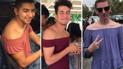 Male students strip down to protest 'sexist' dress code