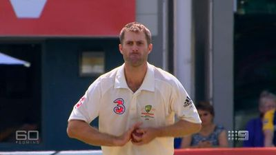 Katich returns serve to Michael Clarke