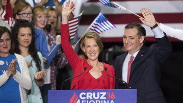 Carly Fiorina and Ted Cruz. (AFP)