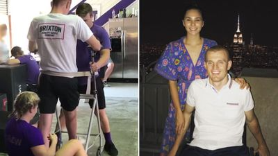 Former NRL player Alex McKinnon filmed walking ahead of wedding