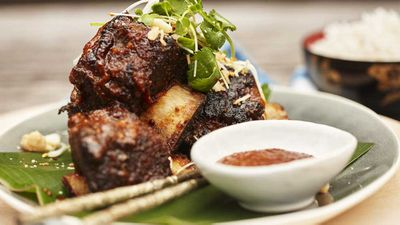 Sticky beef ribs with macadamia bulgolgi sauce
