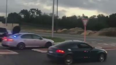 Sparks fly as 'stolen' Audi goes on wild ride without wheels