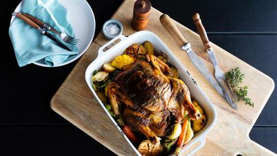 Miguel Maestre's black skin roasted mushroom chicken