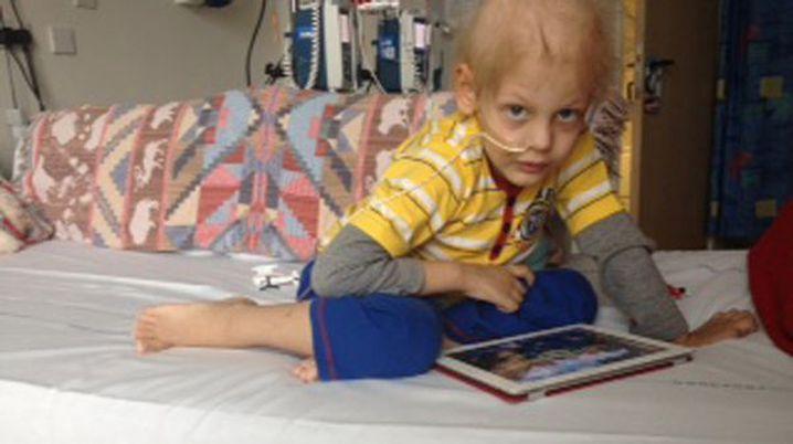 Charlie Woolley in hospital.