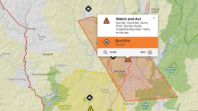 Out-of-control bushfire in Victoria's east