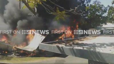 Explosion sets vans ablaze at Brisbane caravan park