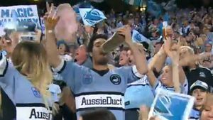 Sharks fan does a 'shoey' celebration