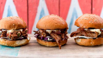 Tom Walton's chipotle pulled lamb sliders with pico de gallo and smokey barbecue sauce