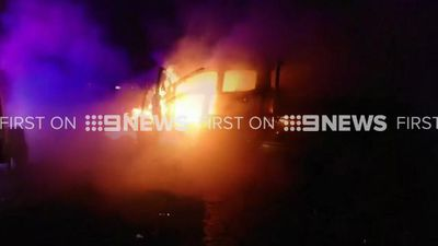 Fire crews tackle huge car blaze in Sydney's north