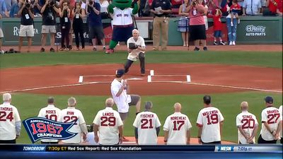Baseball pitch hits photographer in groin at Boston Red Sox-St Louis Cardinals charity match