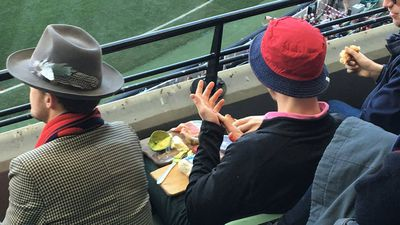 Some bloke brought his own cheese and avo platter to the footy