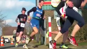 Marathon runner gets painful surprise