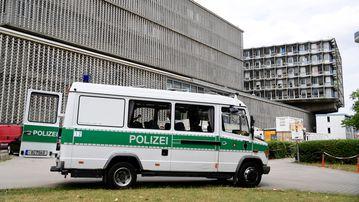 A police vehicle outside the hospital. (AFP)