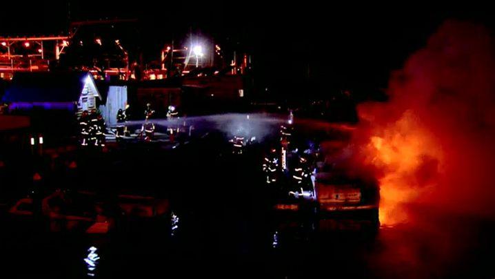 Firefighters spent 45 minutes battling the boat blaze. (9NEWS)